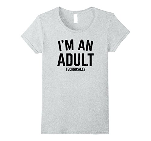 Womens I'm An Adult In Thoery Funny T-shirt 18th Birthday Gift Medium Heather Grey (18th Tee)