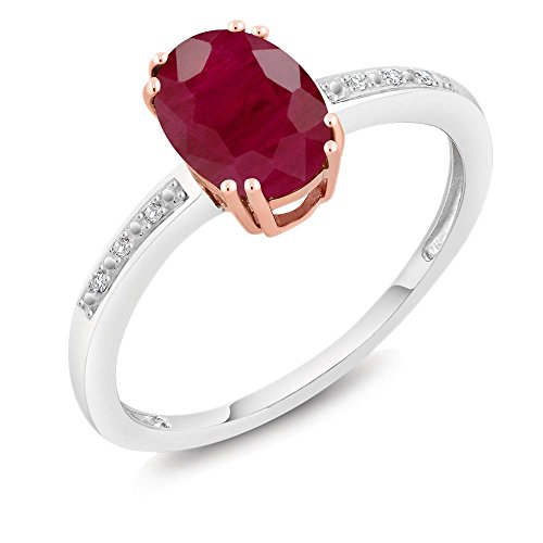 10K Two-Tone Gold Oval Red Ruby and Diamond Women's Ring 1.60 cttw (Size 6) ()