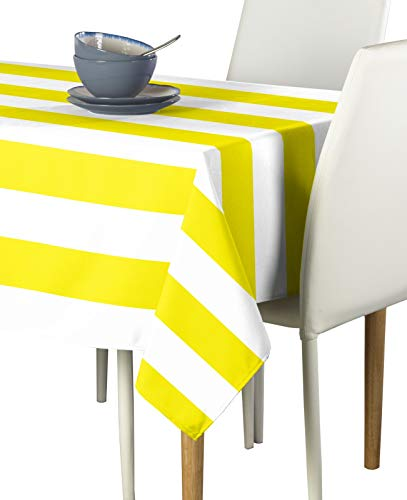 Yellow & White Cabana Stripe Milliken Signature Tablecloths - Assorted Sizes (60