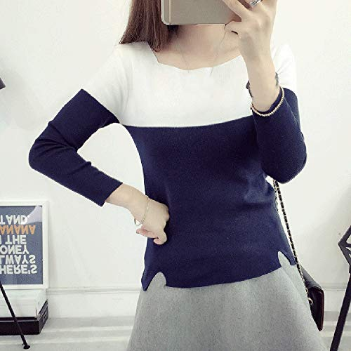 Automne Pullover Manches Sweat Pulls Dihope Sweatshirt Longues Hiver Vintage Sweater Marine Femme Top Casual w501PR