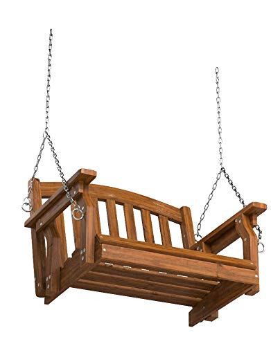 Outdoor Wood Single Person Porch Swing Patio Garden Furniture