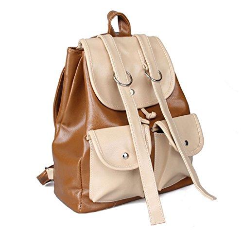 QPALZM Mode Klassik Hochschule Wind Niedlich Doppeltasche Rucksack Multifunktions Ms. Koreanisch Schultern Rucksack,Yellowishbrown