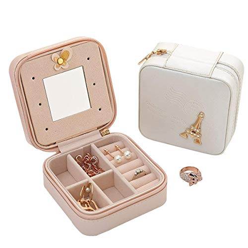 Csinos Travel Jewelry Organizer, Portable Travel Jewelry Box PU Leather Ring Holder Travel Jewelry Box Zipper (Tower) by Csinos