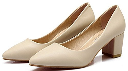 WANabcMAN Comfortable Women's Fashion Pointy Toe Closed Kitten Heel Chunky Low Top Slip On Pump Shoes Apricot 8 B(M) US ()