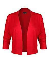 Basic Basic Bbp Classic 3 4 Sleeve Open Front Cropped Bolero Cardigan Red S
