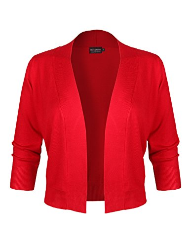 BBP Classic 3/4 Sleeve Open Front Cropped Bolero Cardigan Red L