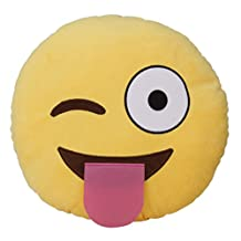 MY LIFE Emoji Smiley Emoticon Yellow Round Cushion Pillow Stuffed Plush Soft Toy-Tongue
