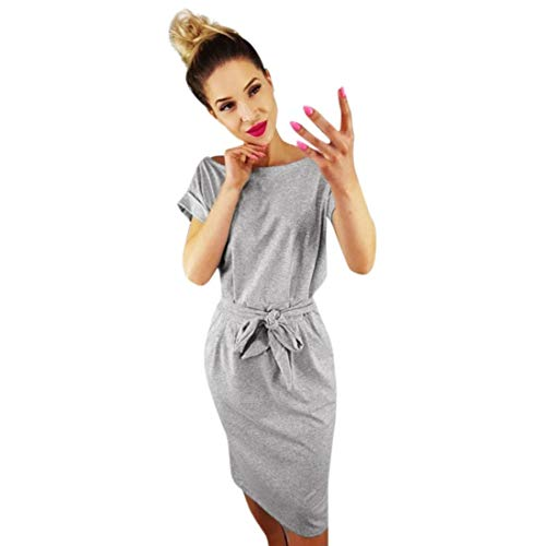 Rambling 2019 Fashion Women's Elegant Short Sleeve Wear to Work Casual Pencil Dress with Belt Gray