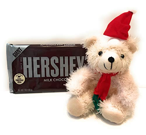 HERSHEY'S Giant Chocolate Candy Bar Bundled with Santa Stuffed Teddy Bear. Perfect Christmas gift, Christmas candy, or stocking stuffer!