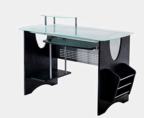 - Wood Desk with Glass Top and Metal Base - Rectangular Desk with Keyboard Tray - Espresso