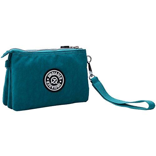 Pocket Wristlet Blue Purplish Zipper Nylon Ocean Cckuu Red Wallet Women's Card Handbags Purse Waterproof OwxntXAp