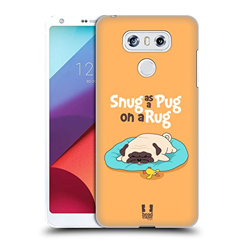 Carrying Piper Case Screen - Head Case Designs Snug On A Rug Piper The Pug Hard Back Case Compatible for LG G6 / G6 Dual