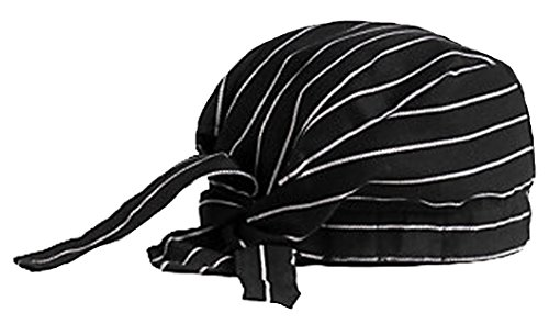 Chef Hat Black and White Cooks Doo Rag Skull Cap for Home or