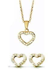 Jewelry sets for women with heart design and crystal, Necklace and Earing