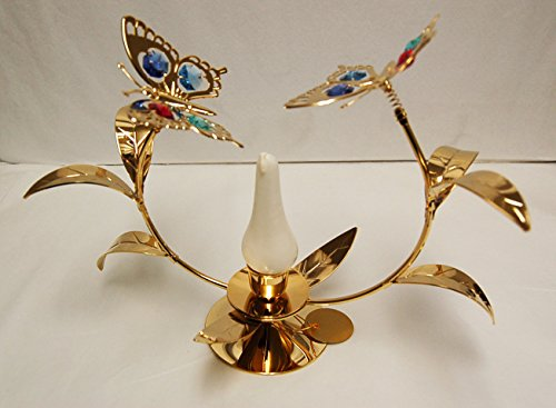- Antique Flower w/Butterfly Taper Holder - 24k Gold Plated with Mixed Color Swarovski Austrian Crystal