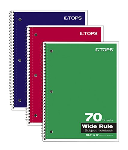 TOPS 1-Subject Spiral Notebooks, Wide Rule, 10.5 x 8 Inches, 70 Sheets/Book, 3-Pack (65029)