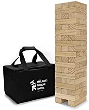 Yard Games Large Tumbling Timbers with Carrying Case | Starts at 2-Feet Tall and Builds to Over 4-Feet | Made