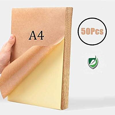 WOWOSS 50 Hojas Papel Kraft Autoadhesivo A4, 80g Etiqueta Kraft ...