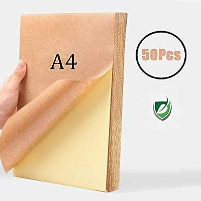 WOWOSS 50 Hojas Papel Kraft Autoadhesivo A4, 80g Etiqueta Kraft Papel A4 Autoadhesiva Impresión Marrón Copia Papel para Impresora Láser de Inyección ...