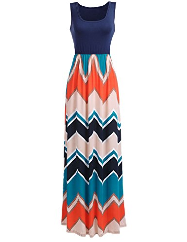 Sherosa Fashion Women's Sleeveless Striped Wavy Pattern Sexy Party Long Dress Gown (L, Navy Blue)