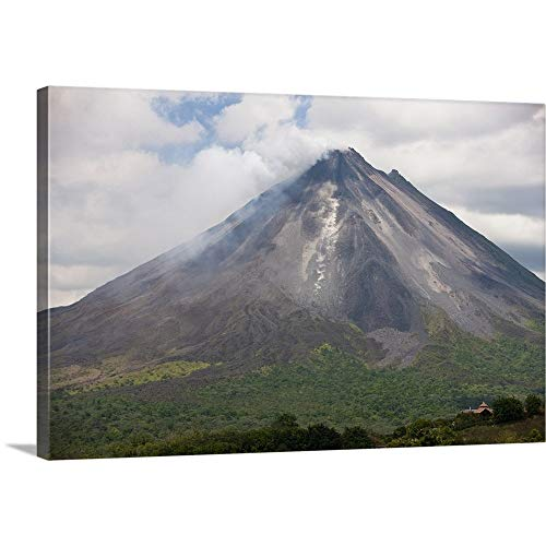 "GREATBIGCANVAS Gallery-Wrapped Canvas Entitled Lava Rocks are Thrown from The erupting Arenal Volcano, Costa Rica by Jim Goldstein 18""x12"""