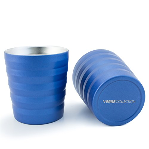Single Essenza (Classic Espresso Lungo Double Wall Stainless Steel Cup Set of 2, 8 Ounce Verre Collection (Sea Blue))