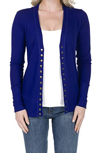 (SHOP DORDOR 2039 Women's Button Down Long Sleeve Knit Cardigan Sweater Denim Blue S)