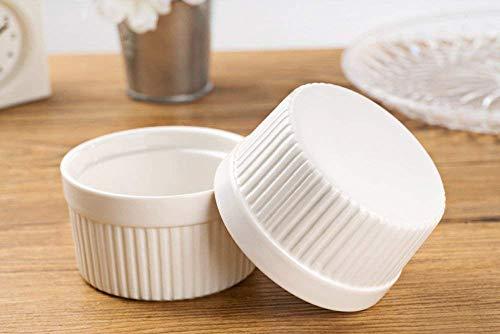 Accguan Set of 8 PCS 6 oz Round Porcelain Oven Safe Ramekin Dessert Souffle Baking Dish(3.5 INCHES) (White) by Accguan (Image #1)