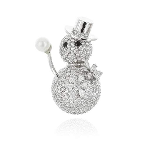 SP Sophia Collection Cubic Zirconia Snow Man with Faux Pearl Rhodium Plated Brooch Pin ()