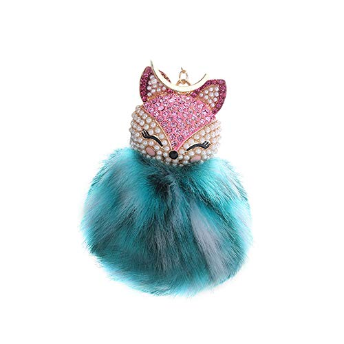 HXINFU Soft Fluffy Fur Ball Fox Head Keychain Kids Colorful Bag Hanging Pendant