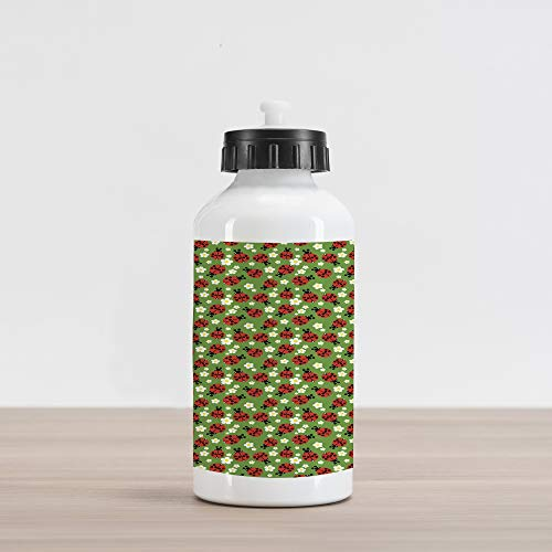 Camomile Blossom - Lunarable Spring Aluminum Water Bottle, Floral Ornament Pattern of Ladybugs Spring Flowers Daisies Camomiles in Blossom, Aluminum Insulated Spill-Proof Travel Sports Water Bottle, Multicolor
