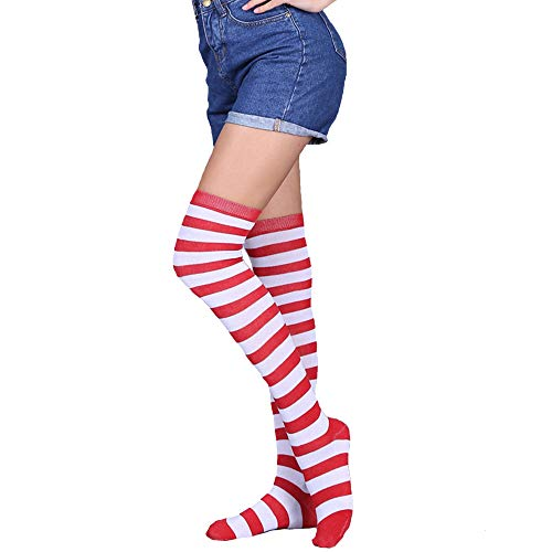 Womens Girls Long Striped Over Knee Thigh High Socks Fun Cute Crazy School Party Cosplay Custume Cotton Stockings, White+Red Stripe -