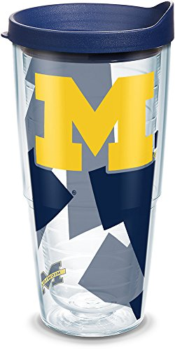 Michigan Wolverines Ncaa Tumbler - Tervis 1289442 NCAA Michigan Wolverines Tumbler with Lid, 24 oz, Clear