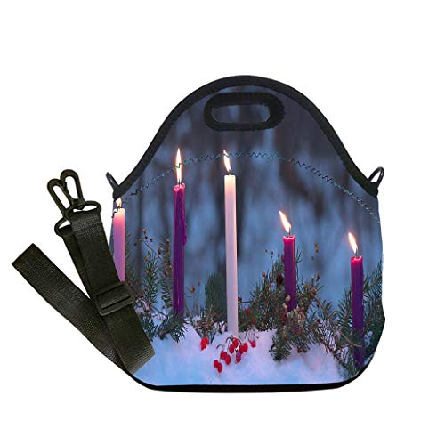 Custom Digital Printing Insulated Lunch Bag,Neoprene Lunch Tote Bags Advent Candles Christmas Eve Prophecy Love Joy Peace Purity Lunch Bag- Insulated and Reusable Artful Design