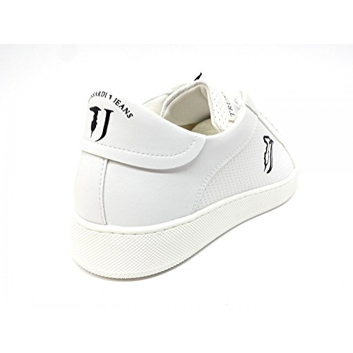 Trussardi Mirror Jeans Smile 77A000219 Leather Sneakers Trussardi bianco axfqwzEW