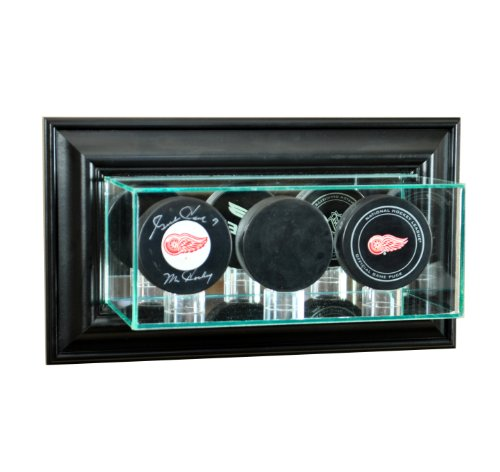 NHL Wall Mounted Triple Puck Glass Display Case, Black - Nhl Wall