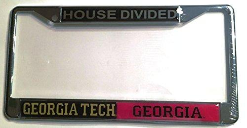 GT Georgia Tech Yellow Jackets - UGA Georgia Bulldogs House Divided Car Tag License - Decal Divided House