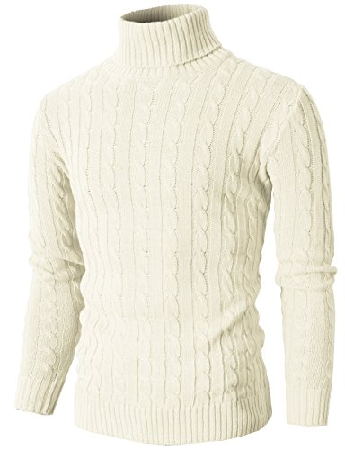 Cable Cashmere Sweater (H2H Mens Casual Turtleneck Slim Fit Pullover Sweaters with Twist Patterned IVORY US M/Asia L (KMOSWL033))