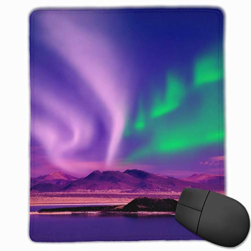 Fantasy Aurora Borealis Mountains Quality Comfortable Game Base Mouse Pad with Stitched Edges