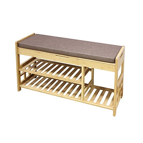 Clevr Natural Bamboo Storage Shoe Rack Bench with 2-Tiers, Drawer on Top, Shoe Organizer Entryway Seat Shelf Hallway Furniture