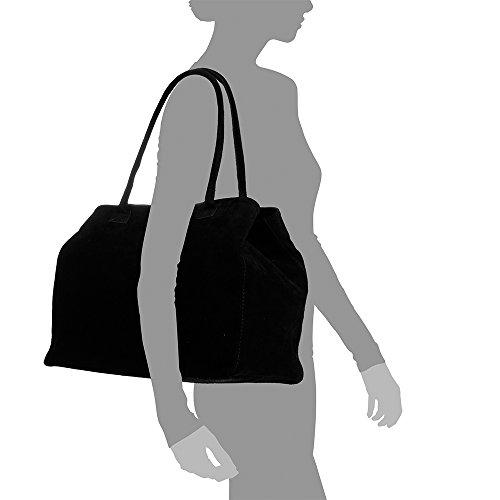 hombro ITALY in mujer Bolso ITALIANA FIRENZE Made cuero Bolso suave Negro ARTEGIANI LEATHER 40x30x20 Gamuza VERA Bolso genuino PELLE cm Color Shopper auténtica mujer Bolso Tacto piel qXT6UZwT