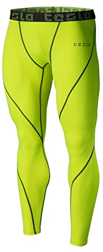 TSLA Men's (Pack of 1) Compression Pants Running Baselayer Cool Dry Sports Tights, Atheltic(mup19) - Neon Yellow, Large
