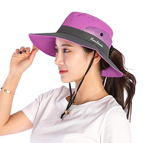 VICSPORT Women Sun Hat Wide Brim Bucket Mesh Boonie Cap Outdoor Fishing Hats UV Protection Purple - Brim Bucket Large