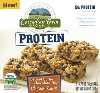 Cascadian Farm Organic Peanut Butter Chocolate Chip Protein Chewy Bar, 8.85 Ounce - 12 per case.