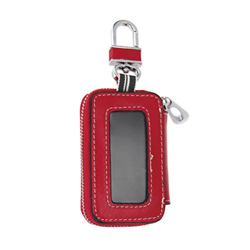 Keeping Red PU Leather Vehicle Car Smart Key Case Remote Fob Case Holder Keychain Ring Case Bag for Men/Women (Burberry Key Case)