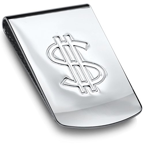Sterling Silver .925 Dollar Sign Money Clip. Designed and Made In Italy. By Sterling Manufacturers by Sterling Manufacturers
