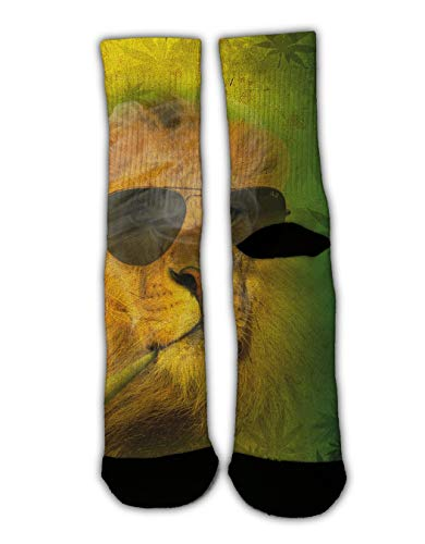 YEAHSPACE Mens Rasta Lion with Sunglasses Dress Socks Funny Colorful Cool Crew Socks for Women, Christmas Holiday Cotton Crazy Novelty Socks]()