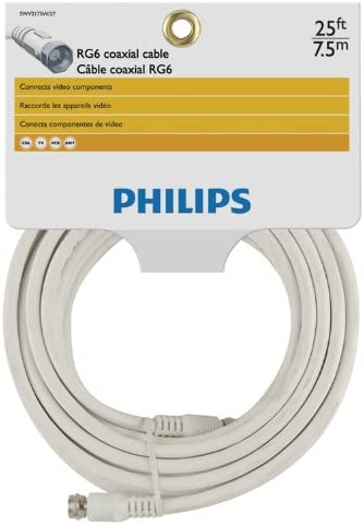 Philips SWV2175W//27 RG6 Coaxial Cable 25 Feet, White