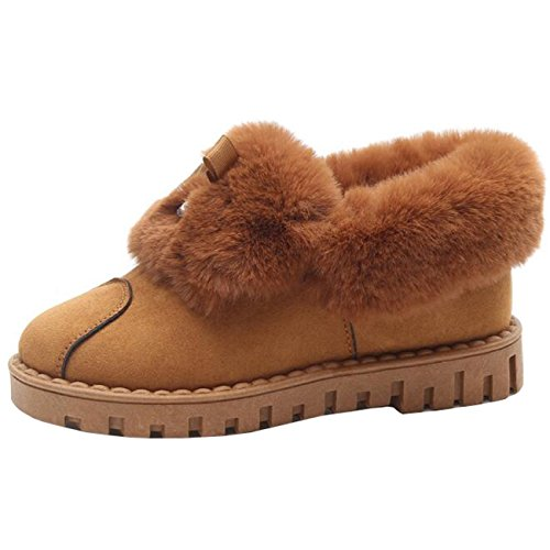 Binying Women's Bowknot Diamond Flat Slip-on Snow Boots Yellow lH46LrO1