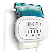 #LightningDeal USB Wall Charger Outlet Extender, KPSTEK Multi Plug Outlet Splitter Adapter with 3 USB Ports and Night Light, Home Office Accessories with 900J, White – KS169